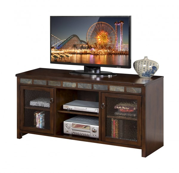 Santa Fe Dark Chocolate Wood Glass Two Shelves 60 Inch TV Console 3464DC-60