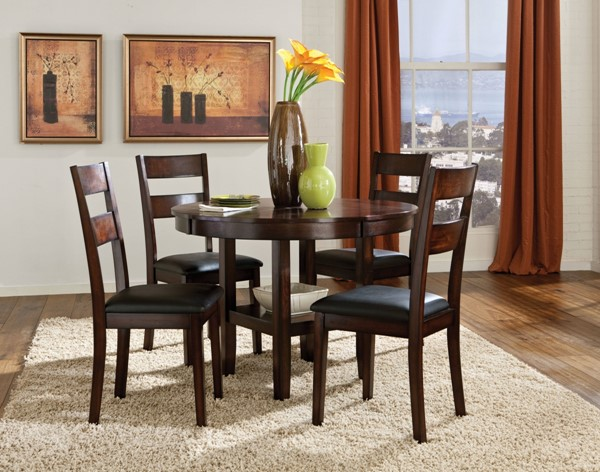 Pendleton Transitional Cherry Hardwood Solid PVC 5pc Dining Room Set STD-10022