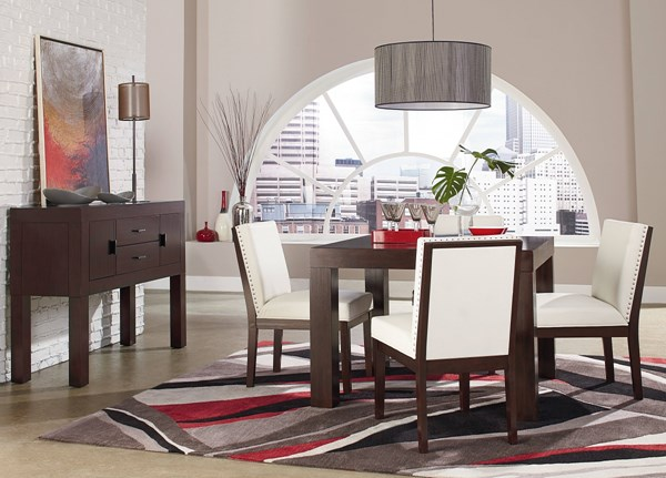 Couture Elegance Dark Chocolate White Wood Square 5pc Dining Room Set std-105-DR-S1
