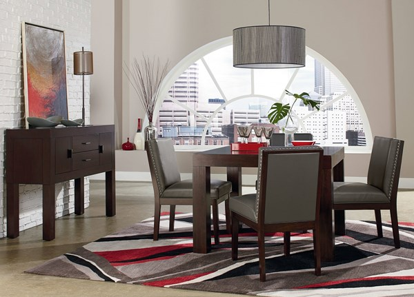 Couture Elegance Dark Chocolate Gray Wood Square 5pc Dining Room Set std-105-DR-S2
