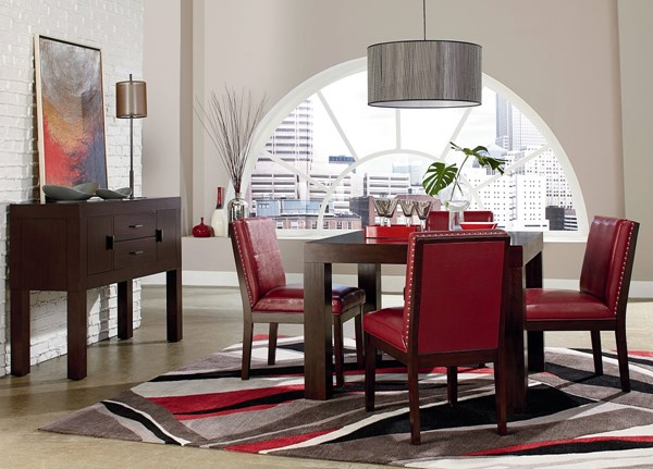 Couture Elegance Dark Chocolate Red Wood PU Square 5pc Dining Room Set std-105-DR-S4