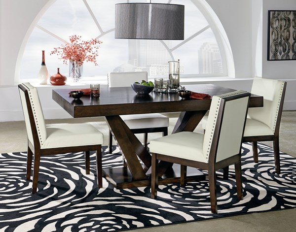 Couture Elegance Chocolate White Wood PU Pedestal 5pc Dining Room Set std-105-DR-S5