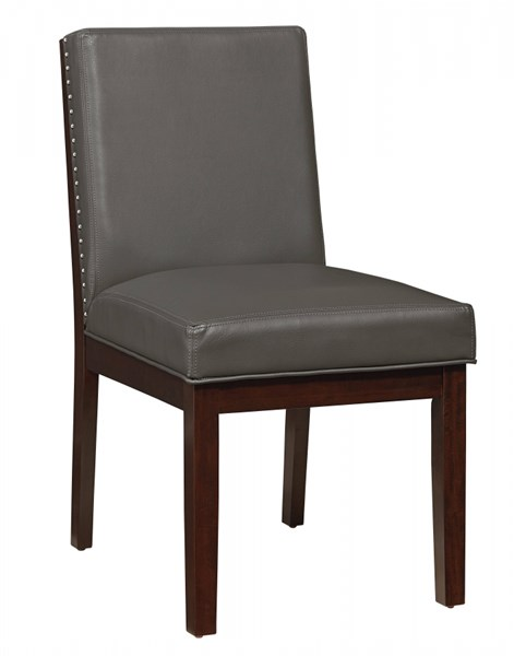 2 Couture Elegance Contemporary Chocolate Gray Wood PU Side Chairs STD-10565