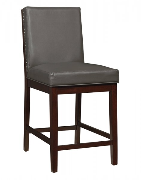 2 Couture Elegance Chocolate Gray PU Counter Height Upholstery Chairs STD-10575