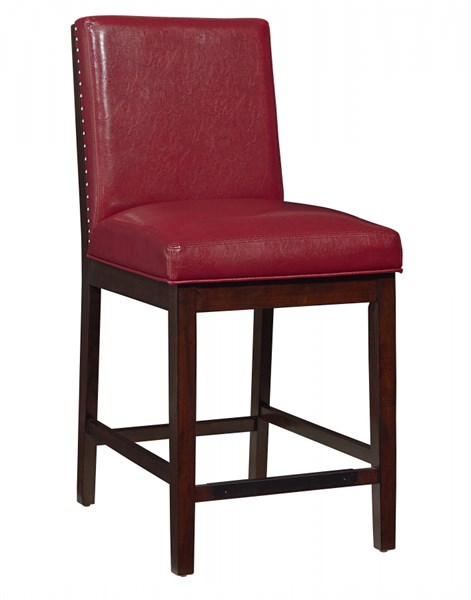 2 Couture Elegance Chocolate Red PU Counter Height Upholstery Chairs STD-10579