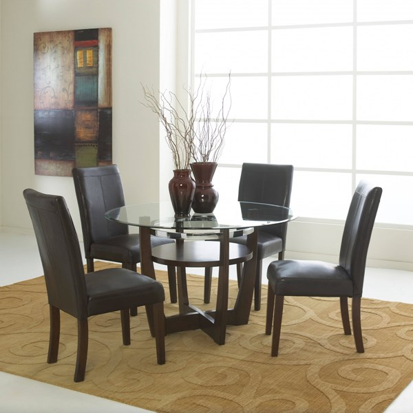 Apollo Casual Brown Merlot PVC Glass Wood Round 5pc Dining Room Set std-1080-DR-S2