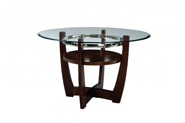 Apollo Casual Merlot Glass Wood Round Dining Table std-1080-DT-S1