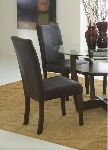 2 Apollo Casual Dark Brown PVC Wood Side Chairs STD-10804