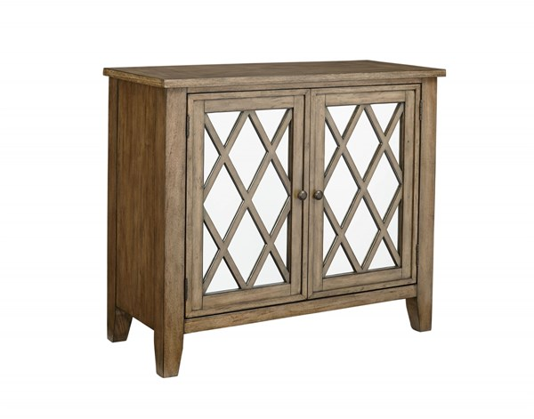 Vintage Transitional Weathered Grey Wood Mirror Accent Console STD-11319