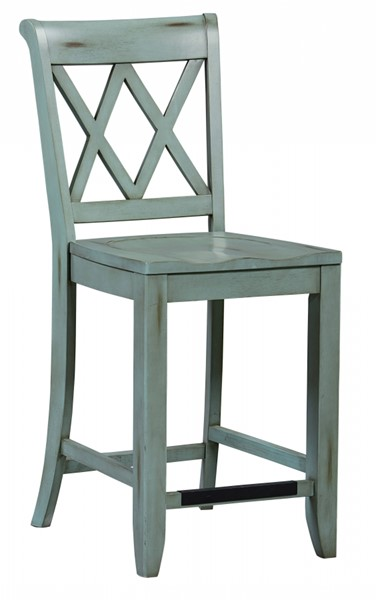 2 Vintage Transitional Dusty Blue Wood Counter Height Stools STD-11325
