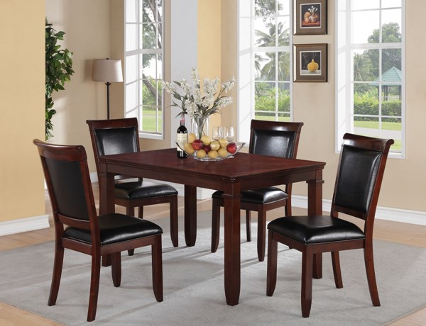 Dallas Transitional Black Brown Cherry PVC Wood Table w/4 Chairs STD-12202