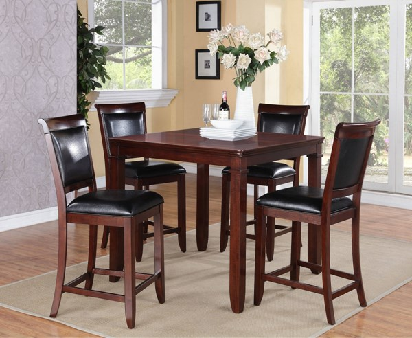 Dallas Black Brown Cherry PVC Wood Counter Height Table w/4 Chairs STD-12212