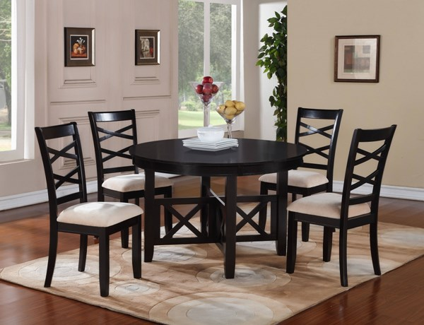Epiphany Transitional Cherry Wood Fabric Table & Chairs 5pc Dining Set STD-12542