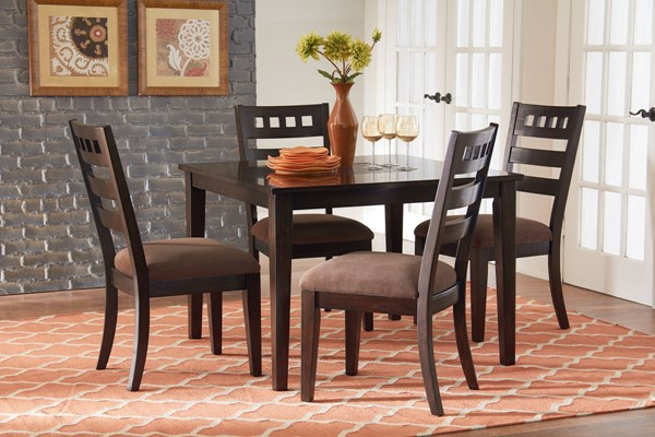 Sparkle Transitional Brown Cherry Wood Fabric  Leg Table & Four Chairs STD-13166