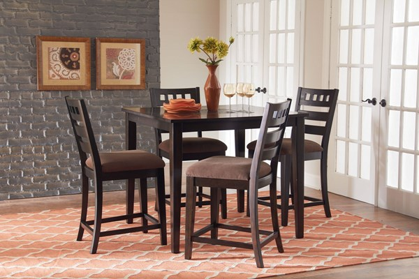 Sparkle Brown Wood Fabric Counter Height Table & Four Stools Set STD-13176