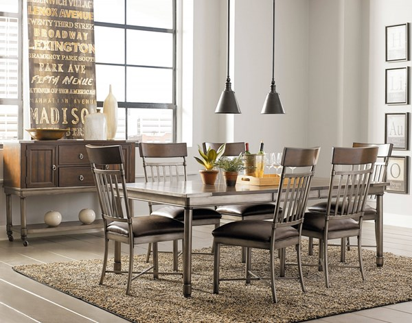 Hudson Contemporary Cherry Brown Wood Metal Dining Room Set std-1322-DR