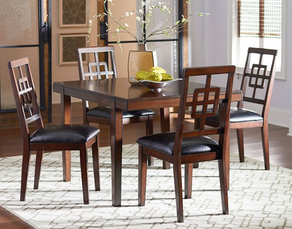 Ally Transitional Golden Brown Cherry Wood PU Table & 4 Chairs Set STD-13262