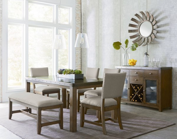 Riverton Casual Gray Fabric Solid Wood Metal 6pc Dining Room Set std-1346-DR-S1