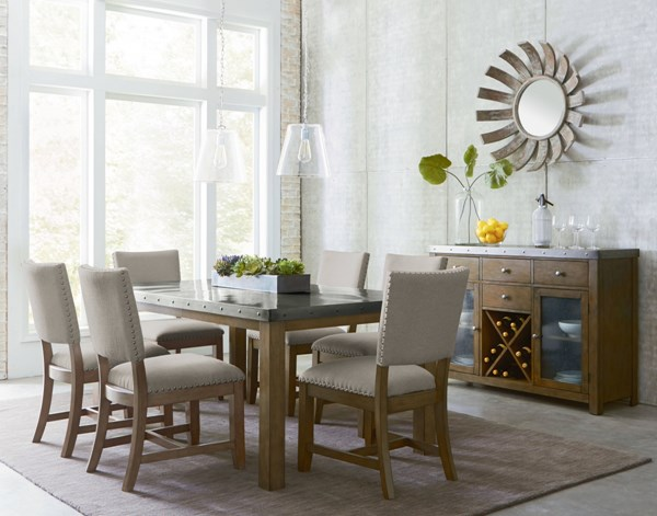 Riverton Casual Gray Fabric Solid Wood Metal Rectangle Dining Room Set std-1346-DR