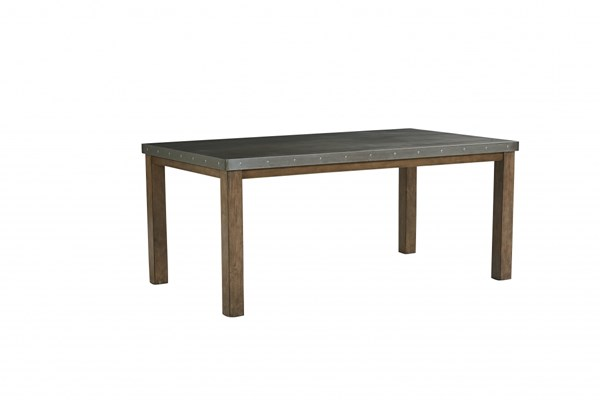 Riverton Casual Fabric Solid Wood Metal Rectangle Dining Table STD-13461