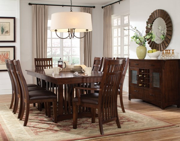 Artisan Loft Craftsman Brown Oak PVC Wood Dining Room Set std-136-DR