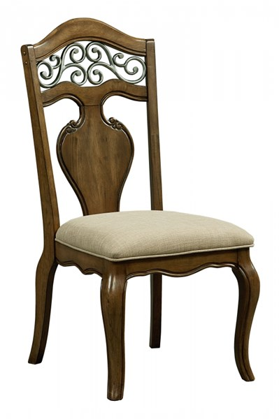 2 Monterey Traditional Caramel Brown Fabric Solid Wood Side Chairs STD-14364