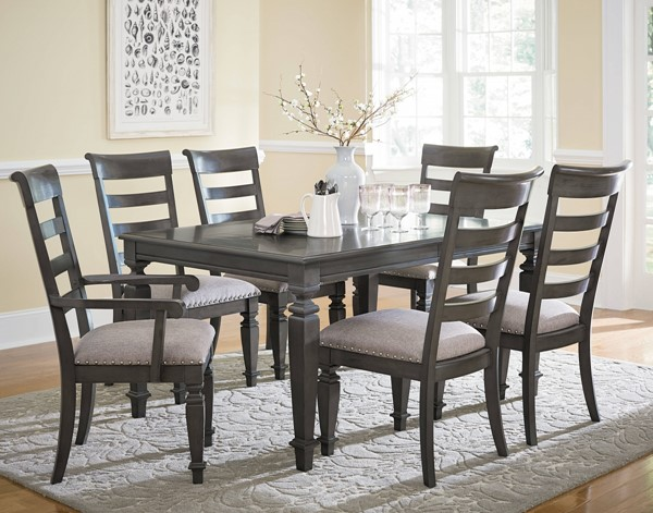 Garrison Traditional Grey Hardwood Solid Fabric 7pc Dining Room Set std-149-DR-S1