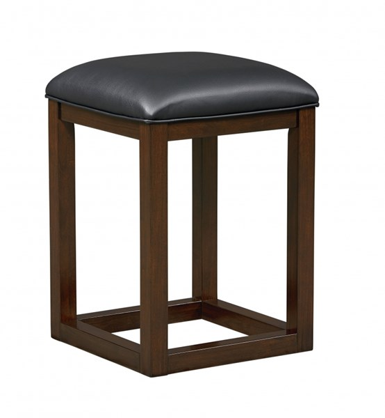 2 Porter Casual Dark Brown Wood PVC Counter Height Bar Stools STD-15154