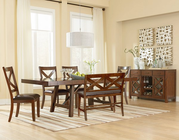 Omaha Rustic Saddle Brown PU Grey Fabric Wood 6pc Dining Room Sets std-161-166-DR-S1-VAR