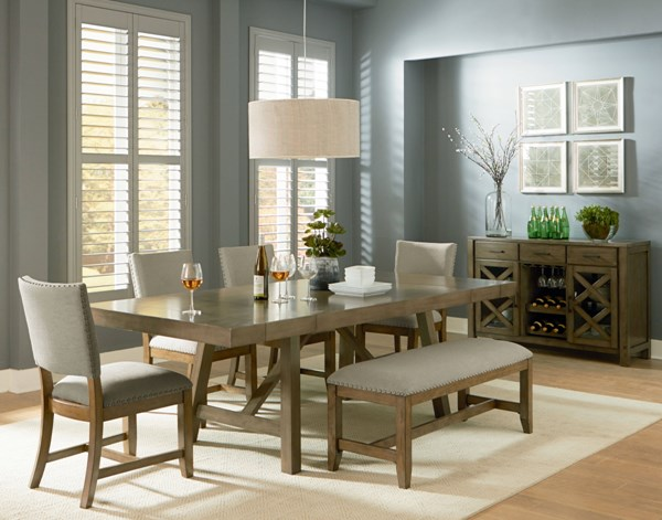 Omaha Transitional Grey Mango Veneer Solid Fabric 6pc Dining Room Set std-166-DR-S4