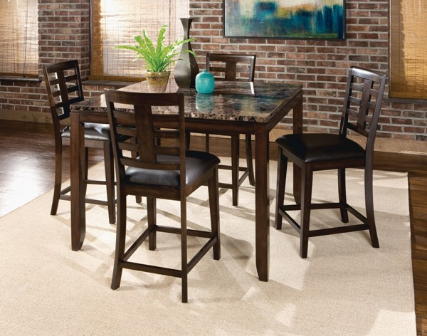Bella Chocolate Cherry Brown PVC Wood 5pc Counter Height Set std-168-DR-S1