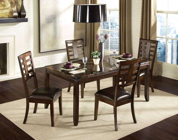 Bella Contemporary Chocolate Cherry Brown PVC Wood 5pc Dining Room Set std-168-DR-S2