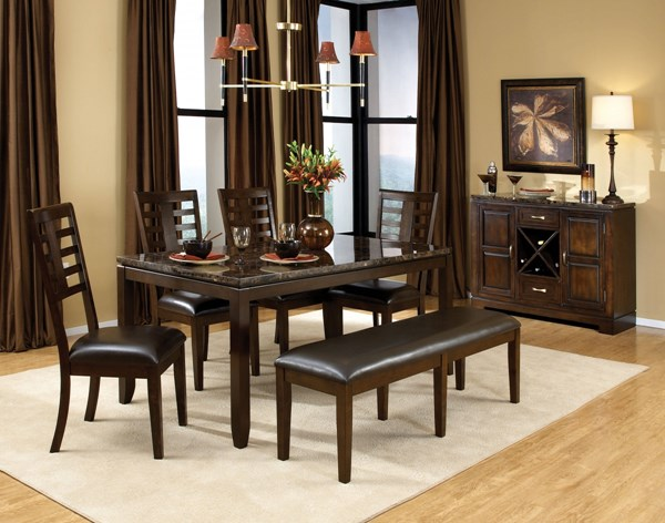 Bella Chocolate Cherry Brown PVC Wood 6pc Dining Room Set w/Bench std-168-DR-S3