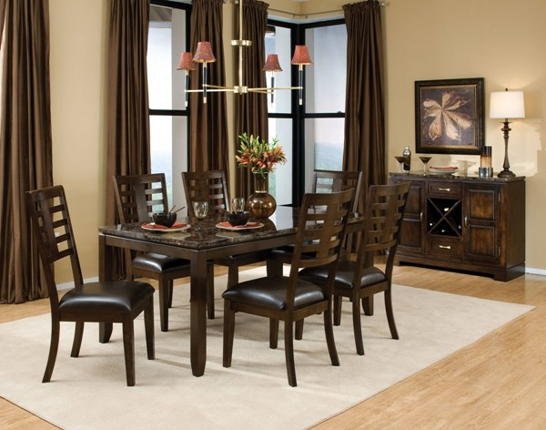 Bella Contemporary Chocolate Cherry Brown PVC Wood 7pc Dining Room Set std-168-DR-S4