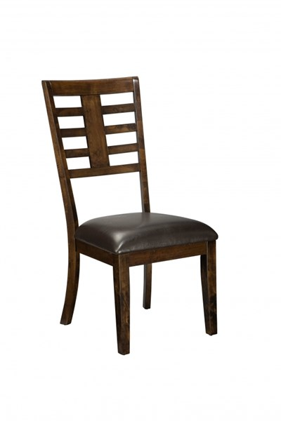 2 Bella Contemporary Chocolate Brown PVC Wood Side Chairs STD-16844