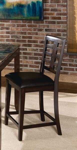 2 Bella Contemporary Chocolate Brown PVC Wood 24 Inch Height Barstools STD-16855