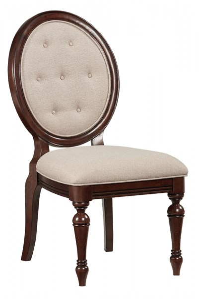2 Carrington Chestnut Brown Wood Upholstery Side Chairs STD-17024