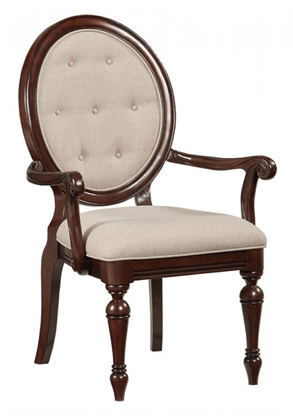 2 Carrington Chestnut Brown Wood Upholstery Arm Chairs STD-17025