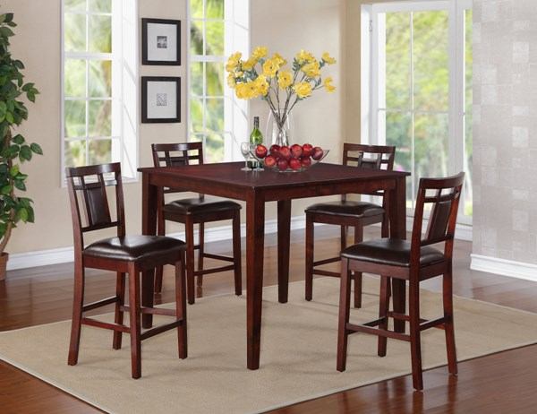 Westlake Cherry Wood PVC Counter Height Table W/4 Stools Set STD-17292