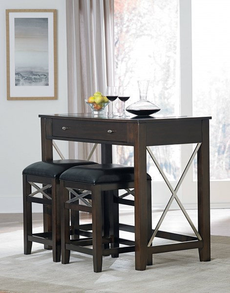 Alexander Contemporary Dark Espresso Black Wood PVC Dining Room Set std-1740-DR