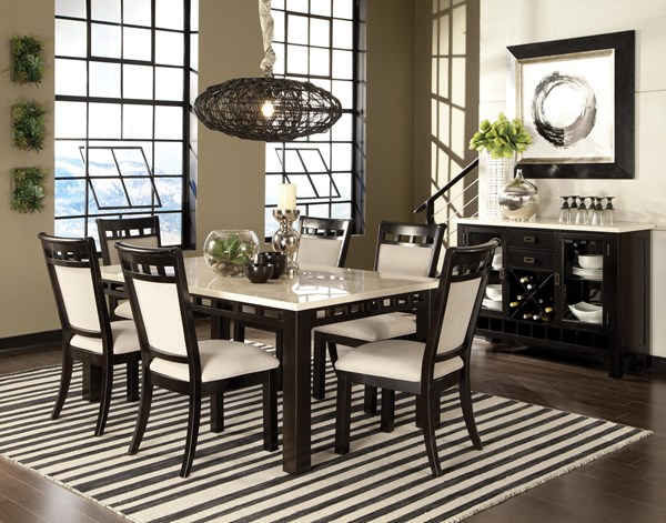 Gateway White Brown Chicory Wood Fabric 7pc Dining Room Sets std-174-182-DR-VAR1