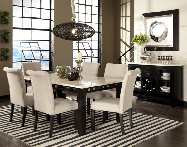 Gateway White Marble Wood Fabric 7pc Dining Room Set w/Parsons Chair std-17460-DR-S2