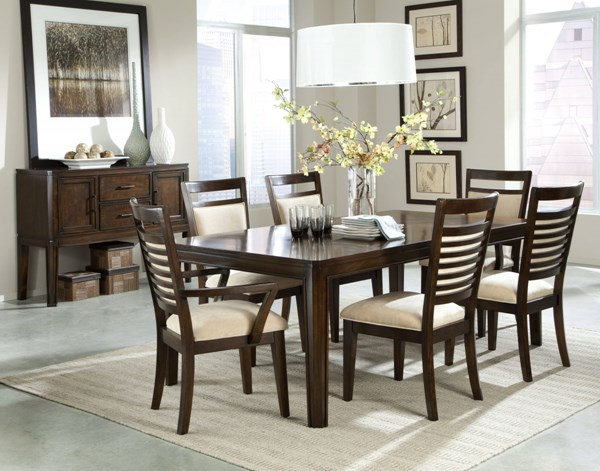 Avion Transitional Cherry Wood Fabric 7pc Dining Room Set std-178-DR-S1