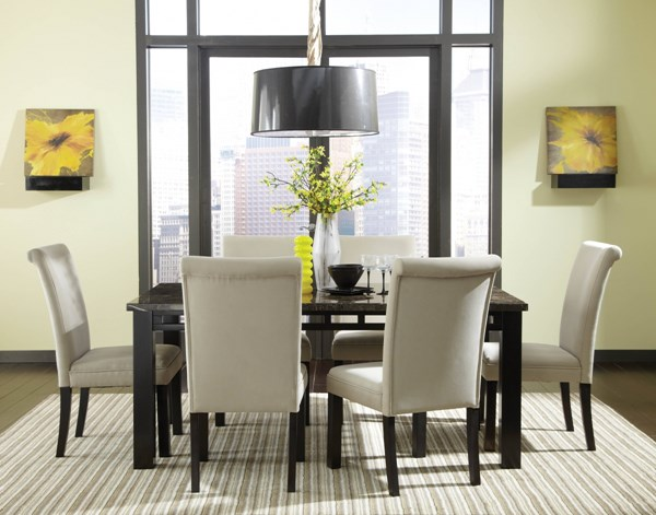 Gateway Grey Marble Wood Fabric 7pc Dining Room Set w/Parsons Chair std-18260-DR-S4