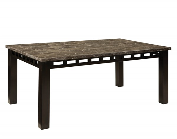 Gateway Contemporary Grey Marble Chicory Brown Wood Rectangle Table STD-18261