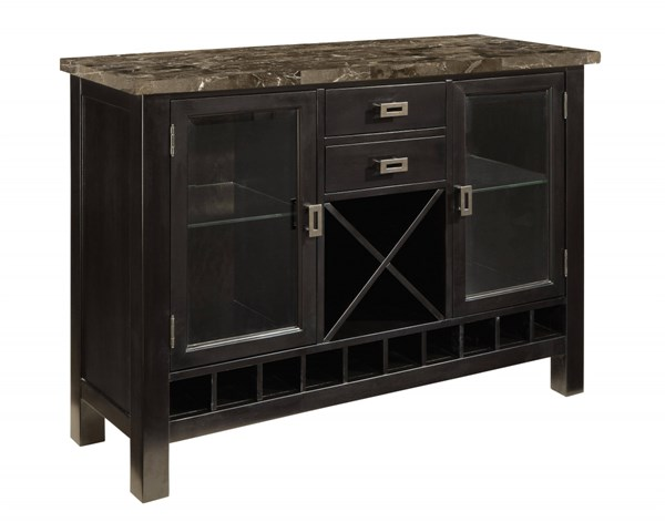 Gateway Contemporary Grey Marble Brown Chicory Wood Server STD-18262
