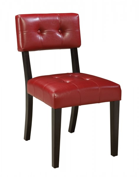 2 Miller Retro Red PVC Wood Tufted Back Chairs std-18403
