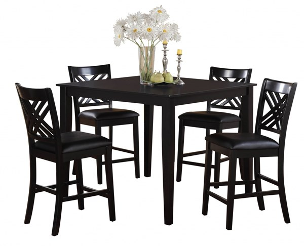 Brooklyn Dark Espresso PVC Hardwood Counter Height Table And Chair Set STD-18772