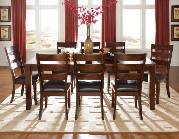 Abaco Casual Tobacco Brown PVC Fabric Wood 9pc Dining Room Set std-1892-DR-S1