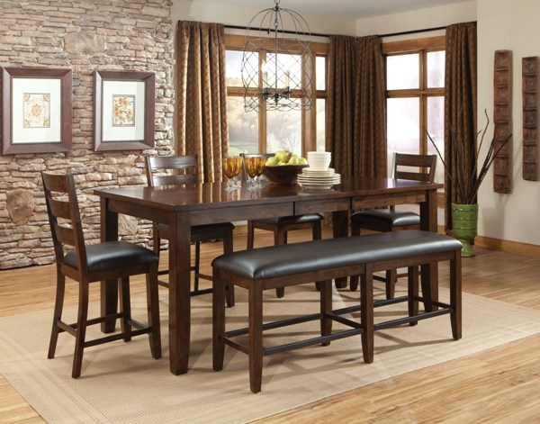 Abaco Casual Tobacco Brown PVC Fabric Wood 6pc Counter Height Set std-1892-DR-S2